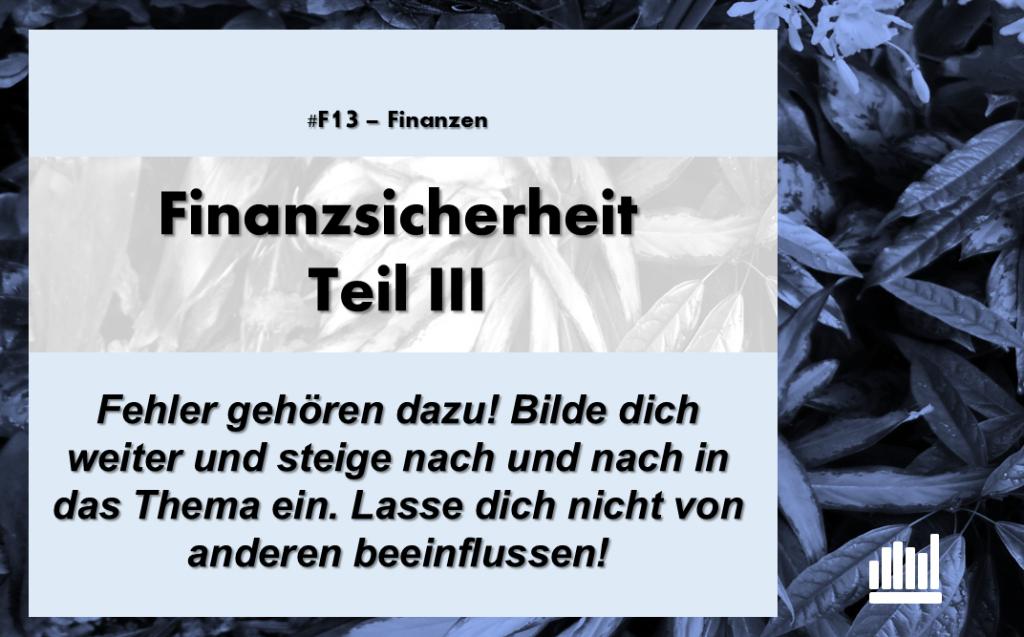 #F13 Finanzsicherheit III
